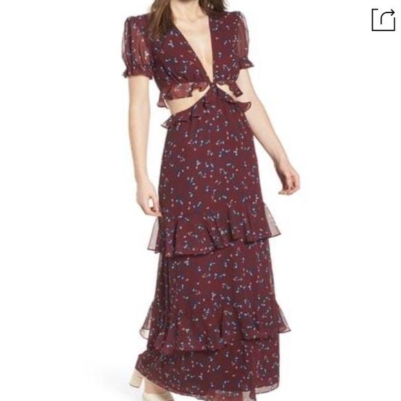 WAYF Lavinia Maxi Dress (small, maroon)